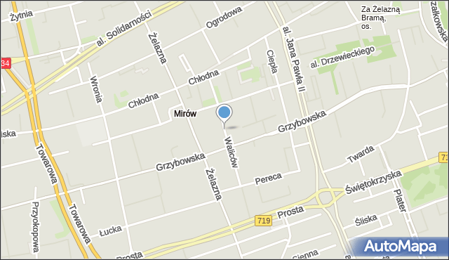 Warszawa, Waliców, mapa Warszawy