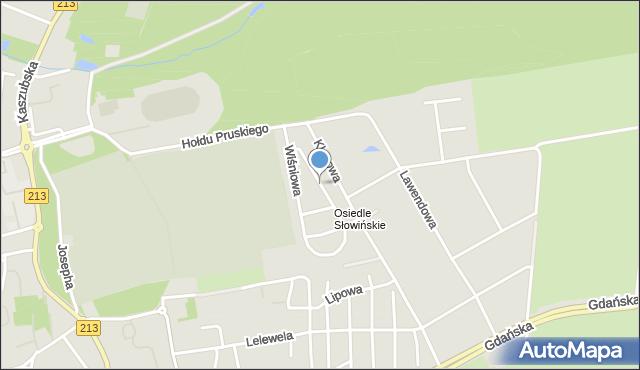 Słupsk, Wiśniowa, mapa Słupska