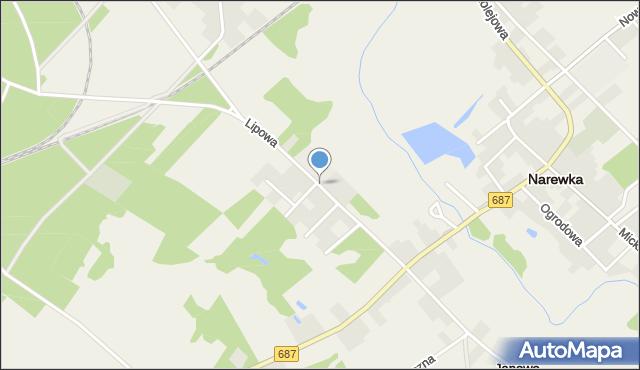 Narewka, Wołkowyckiego Aleksandra, mapa Narewka