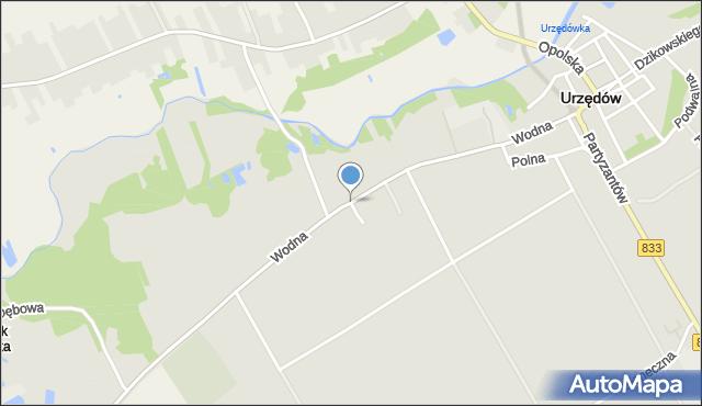 Urzędów, Wodna, mapa Urzędó
