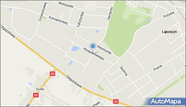 Kutno, Wyspiańskiego, mapa Kutno