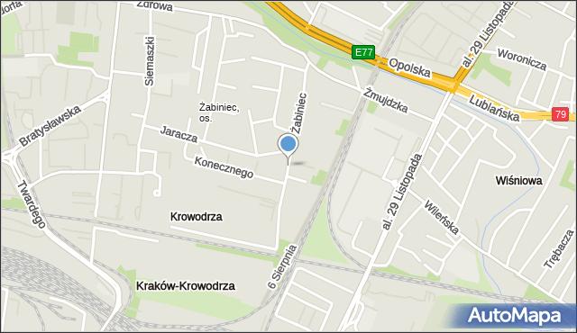 Kraków, Żabiniec, mapa Krakowa