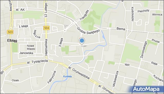 Elbląg, Związku Jaszczurczego, mapa Elbląga
