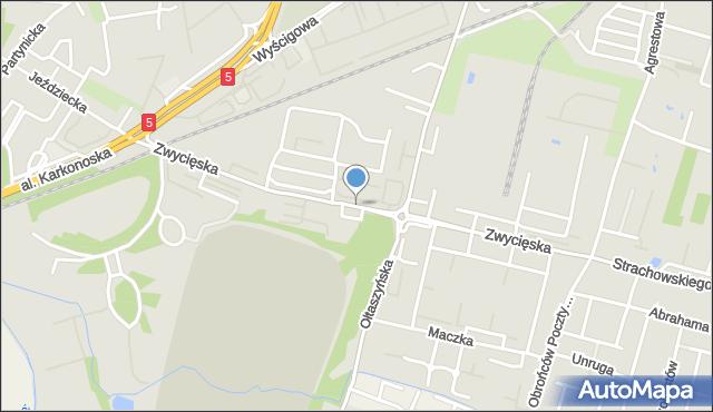 Wrocław, Zwycięska, mapa Wrocławia