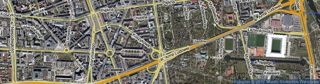 Zdjęcie satelitarne Aleje Ujazdowskie