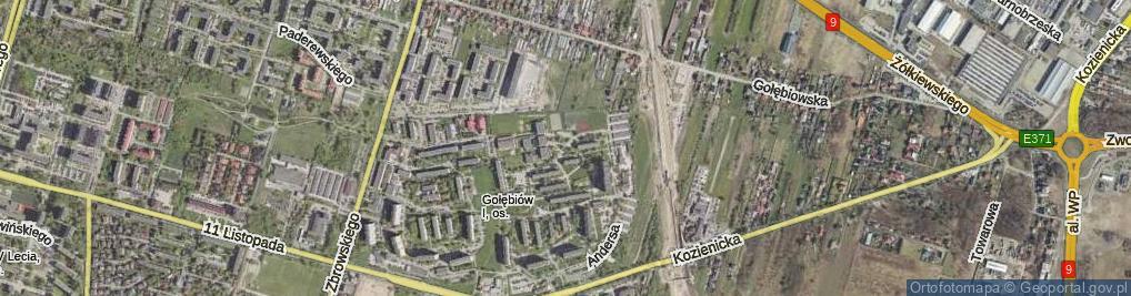 Zdjęcie satelitarne Powstańców Śląskich