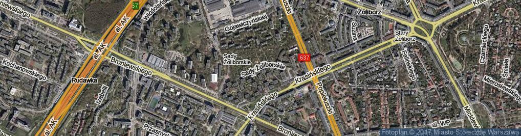 Zdjęcie satelitarne Sady Żoliborskie ul.