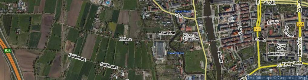 Zdjęcie satelitarne Strażnicza ul.