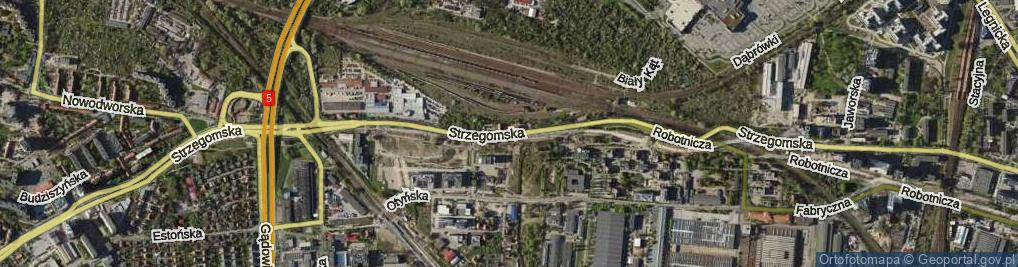 Zdjęcie satelitarne Strzegomska