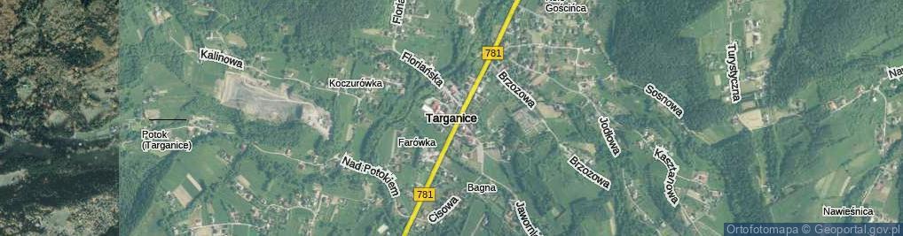 Zdjęcie satelitarne Targanice ul.