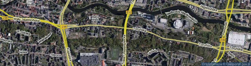 Zdjęcie satelitarne Trasa Uniwersytecka