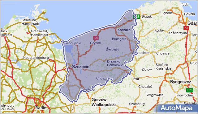 wojewodztwo zachodniopomorskie na mapie Targeo