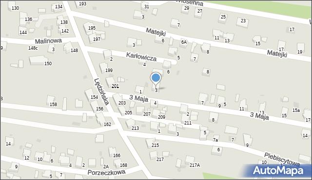 Lędziny, 3 Maja, 3, mapa Lędziny