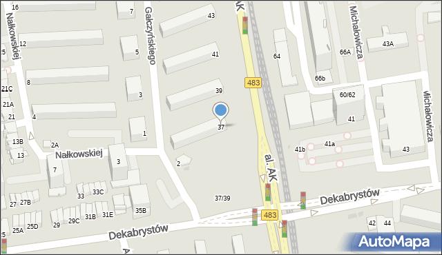 Częstochowa, Aleja Armii Krajowej, 37, mapa Częstochowy
