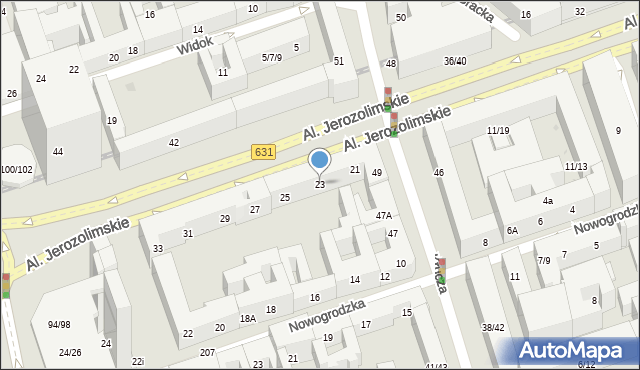 Warszawa, Aleje Jerozolimskie, 23, mapa Warszawy