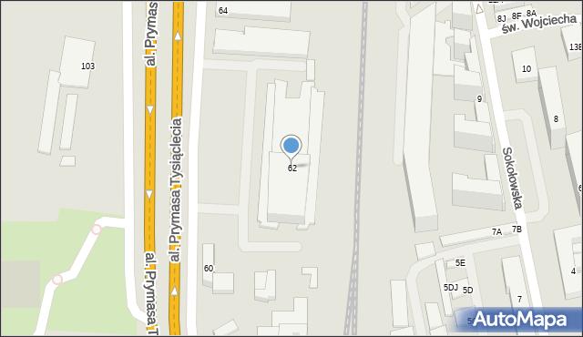 Warszawa, Aleja Prymasa Tysiąclecia, 62, mapa Warszawy
