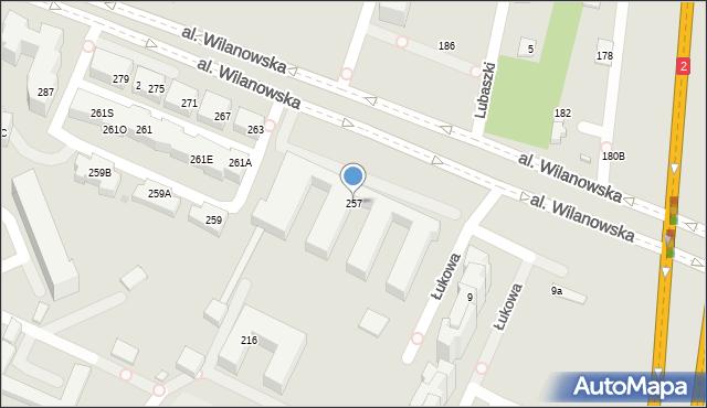 Warszawa, Aleja Wilanowska, 257, mapa Warszawy