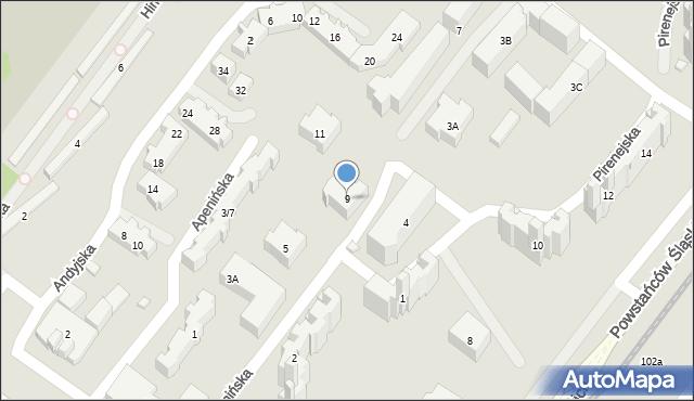 Warszawa, Apenińska, 9, mapa Warszawy