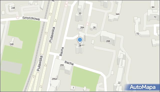 Warszawa, Bacha Jana Sebastiana, 26, mapa Warszawy