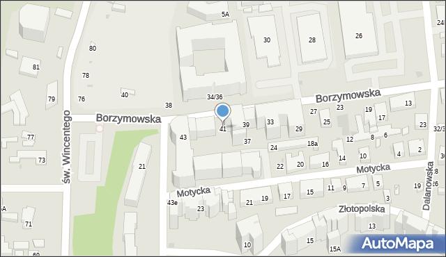 Warszawa, Borzymowska, 41, mapa Warszawy