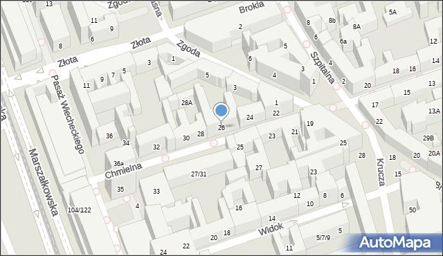 Warszawa, Chmielna, 26, mapa Warszawy