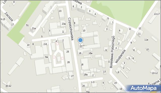 Kalisz, Częstochowska, 12, mapa Kalisza