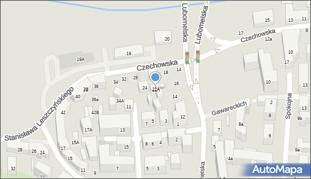Lublin, Czechowska, 22A, mapa Lublina