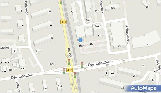 Częstochowa, Dekabrystów, 41b, mapa Częstochowy