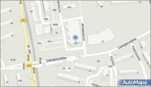 Częstochowa, Dekabrystów, 43, mapa Częstochowy