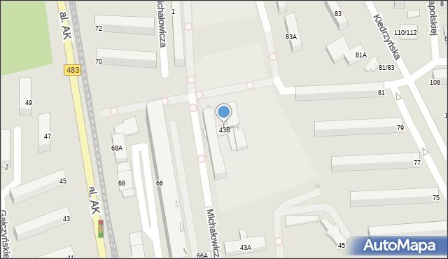 Częstochowa, Dekabrystów, 43B, mapa Częstochowy
