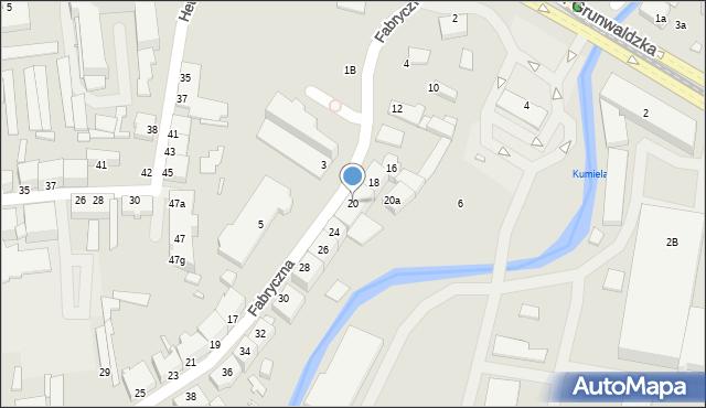 Elbląg, Fabryczna, 20, mapa Elbląga
