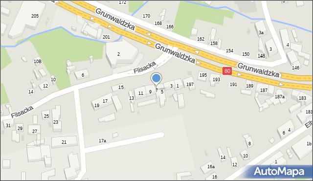 Bydgoszcz, Flisacka, 7, mapa Bydgoszczy