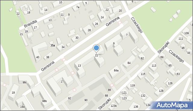 Bydgoszcz, Gersona Wojciecha, 11, mapa Bydgoszczy