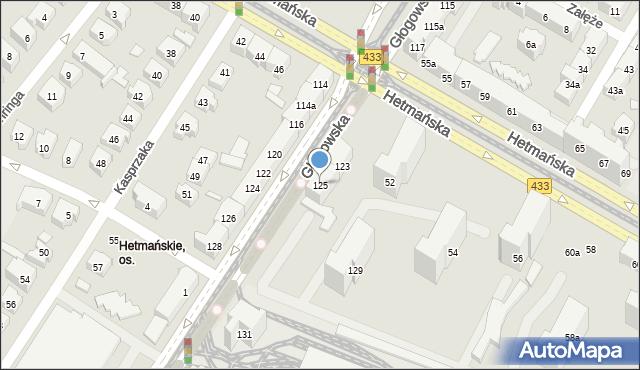 Poznań, Głogowska, 125, mapa Poznania