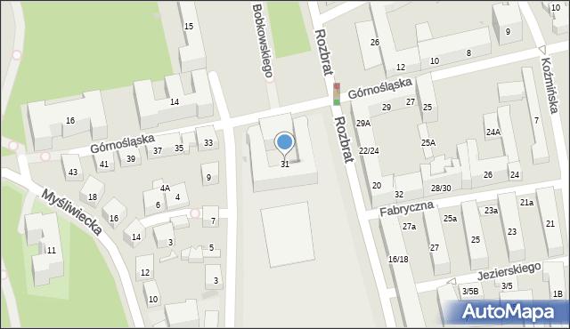 Warszawa, Górnośląska, 31, mapa Warszawy