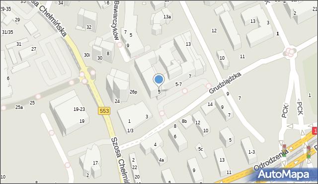 Toruń, Grudziądzka, 5, mapa Torunia