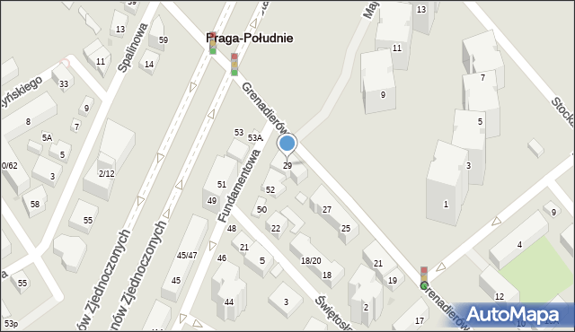 Warszawa, Grenadierów, 29, mapa Warszawy