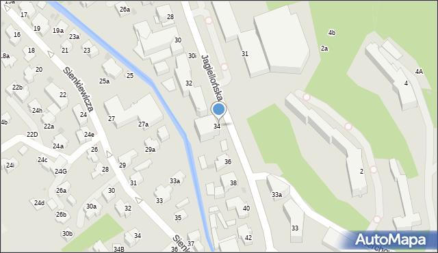 Zakopane, Jagiellońska, 34, mapa Zakopanego