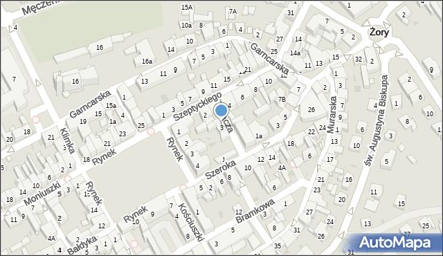 Żory, Kacza, 3, mapa Żor
