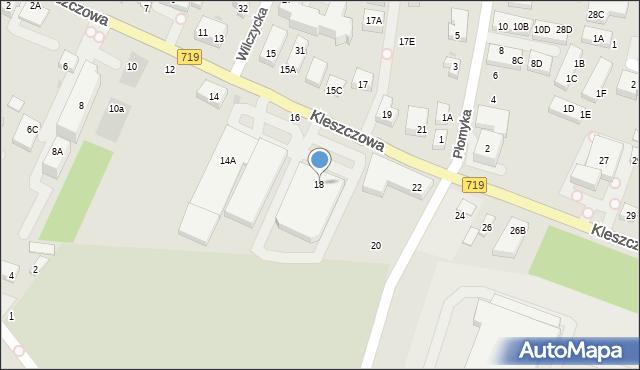 Warszawa, Kleszczowa, 18, mapa Warszawy