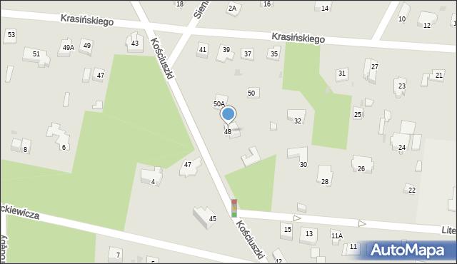 Milanówek, Kościuszki Tadeusza, gen., 48, mapa Milanówek