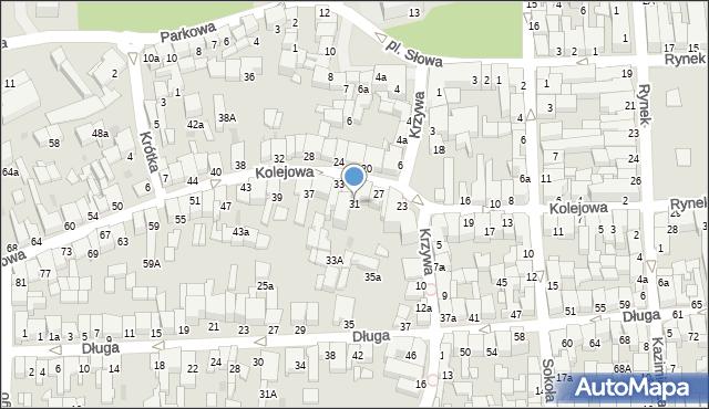 Nowy Targ, Kolejowa, 31, mapa Nowego Targu