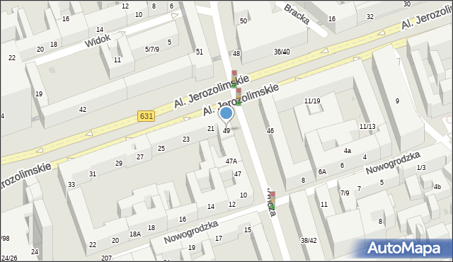Warszawa, Krucza, 49, mapa Warszawy