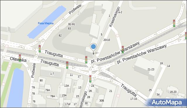 Wrocław, Krasińskiego Zygmunta, 9, mapa Wrocławia