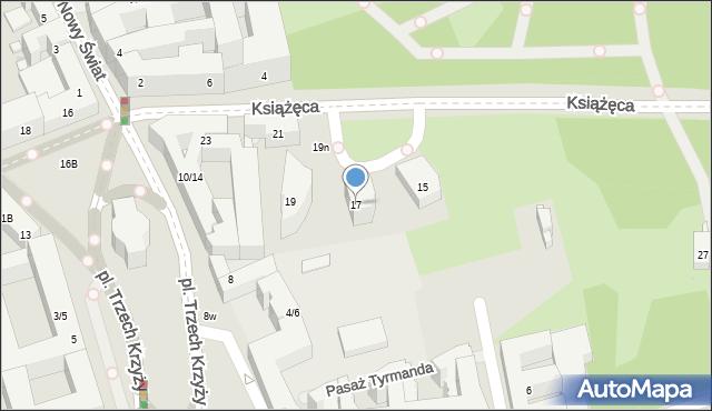 Warszawa, Książęca, 17, mapa Warszawy