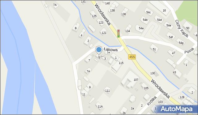 Kamieniec Wrocławski, Łąkowa, 5, mapa Kamieniec Wrocławski
