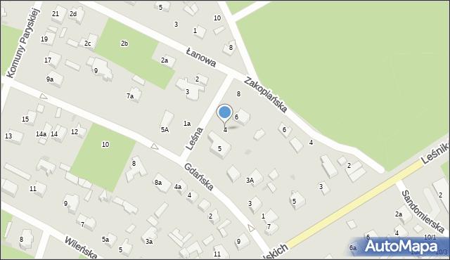 Łask, Leśna, 4, mapa Łask