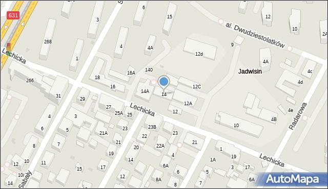 Warszawa, Lechicka, 14, mapa Warszawy