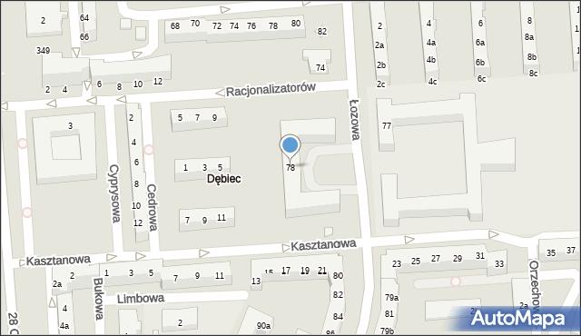 Poznań, Łozowa, 78, mapa Poznania
