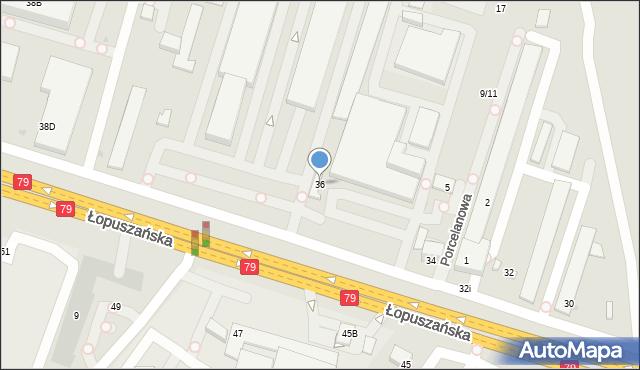 Warszawa, Łopuszańska, 36, mapa Warszawy
